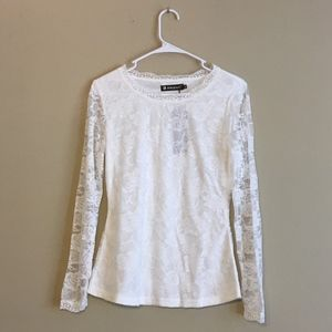 Allegra K White Long Sleeves Lace Top